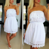 White Off Shoulder Waist Dress B0015227