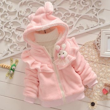 2016 new autumn and winter  children bunny clothing  child clothes baby girl outerwear  coat girl's faux fur jackets kids tops