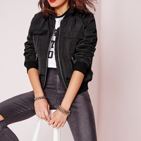 Missguided - Zip Detail Utility Bomber Jacket Black