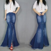 Fashion  Skirt Women's Vintage  Long  Jeans Skirts