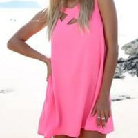 Pink V-Neck Cut-Out Mini Dress