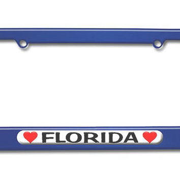 Florida Love with Hearts Metal License Plate Frame