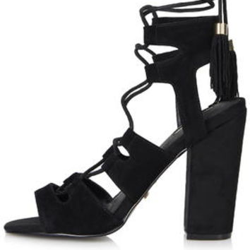 ROSE Tassel Tie High Sandals - Black