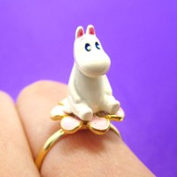 3D Moominmamma Hippo Shaped Moomin Adjustable Ring | DOTOLY