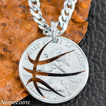 Basketball Necklace, Cut Coin, Quarter, Sports Jewelry, by Namecoins