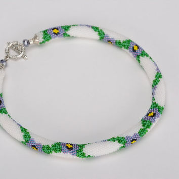 Cord necklace made of beads floral pattern handmade women's accessory gift idea