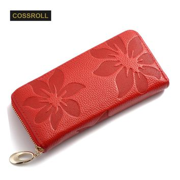 Genuine Leather Wallet Women Lady Long Wallets Women Purse Female 6 Colors Women Wallet Card Holder Day Clutch