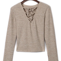 Beige Lattice Lace Up Front Long Sleeve T-shirt