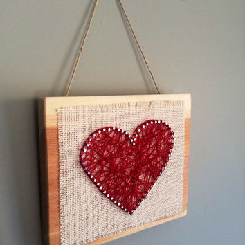 Heart string art wall or shelf decor!