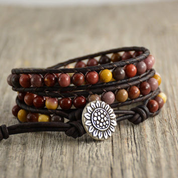 Mookaite beaded bracelet. Multicolor earthy jewelry. Sunflower button wrap bracelet
