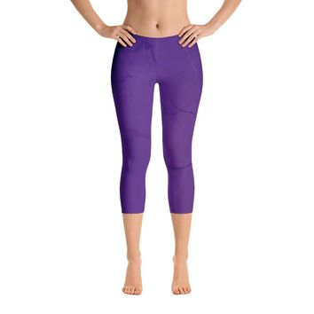 Purple Lightning Capri Leggings