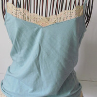 Pastel Blue Tank Top Lacey Tank Top with insert Yoga Tops sz S Ann Taylor Petite Tops sz XSP Petite Clothing Junior tops
