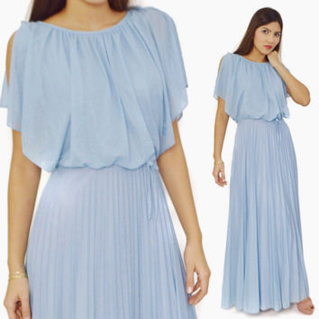 Vintage 70s Baby Blue Disco Glam Long Maxi Flowing Butterfly Sleeves Elegant Boho Chic Dress