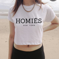 HOMIES New York Style Crop Top in White, Black, Grey or Maroon S M and L South Central Dope CC Celine Swag