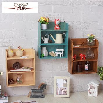Staygold Zakka Wall Shelves Desktop Storage Finishing Rack Home Wall Decoration Vintage Home Decor Grocery Decorative Shelves