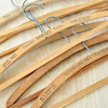 Set of Seven Vintage Wooden Dry Cleaning Pants Hangers, California, 1940s