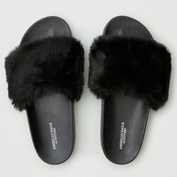 AEO Faux Fur Pool Slide, Black