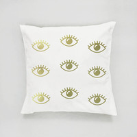 Eyes Pattern Pillow, Gold Eyes Pillow, Home Decor, Cushion Cover, Throw Pillow, Bedroom Decor, Modern Pillow, Bed Pillow, Gold Pillow