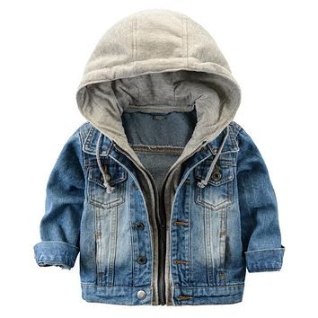 Fashion Denim baby Boys Children outerwear coat fashion kids jackets for Boy girls jacket hooded Spring Autumn children clothing