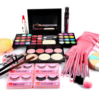 Makeup Gift Set Brushes Eyelashes Curler Eyeshadow Lipstick Mascara Powder WB