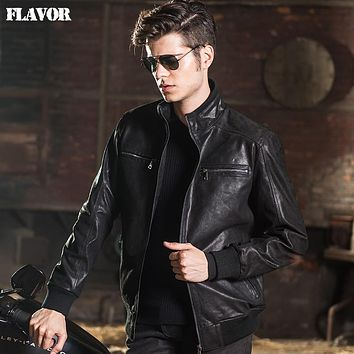 Men's real leather jacket Genuine Leather jacket men leather coat motorcycle jackets