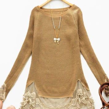 Shades of Sienna Lace-Trimmed Tunic Sweater - Blouses & Tops - Ladies