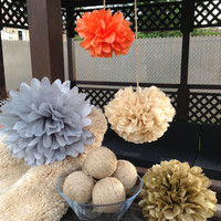 set of 18 tissue paper pom poms,party poms-wedding poms,party decor,birthday decorations,hanging pom poms,paper poms,nursery pom pom