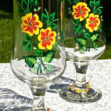 Painted Glasses With Bright Red And Yellow Flowers And Crystal Wine Charms, Mothers Day Gift, Birthday Gift, Wedding Gift, Unique Gifts