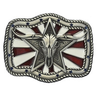 Nocona Mens Americana Long Horn Western Belt Buckle