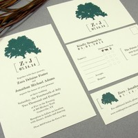 Leafy Tree | Rustic Wedding Invitation Suite by RunkPock Designs | Modern Organic Outdoor Wedding Design | shown in dark forest green and brown
