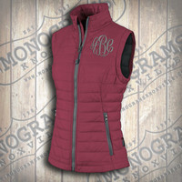 Monogrammed Quilted Magenta w/ Grey Trim Vest  Font shown MASTER CIRCLE in grey