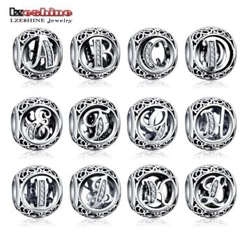 Dropshiping LZESHINE Authentic Sterling Silver 925 Crystal Alphabet Letter A-Z Bead Charm Fit Original Pandora Charm Bracelets