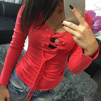 Sexy Bandage Lace Up Long-Sleeve Shirt Women Deep V T Shirts Spring Female Tops 5 Colors