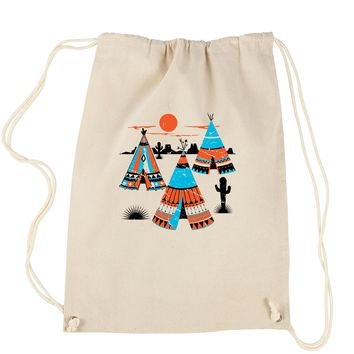 Native American Teepee Tipi Southwest Drawstring Backpack