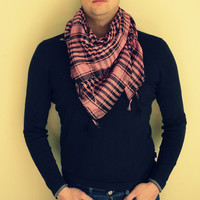 Pink and Black Cotton Men Scarf / Unisex  Square Cotton  Scarf