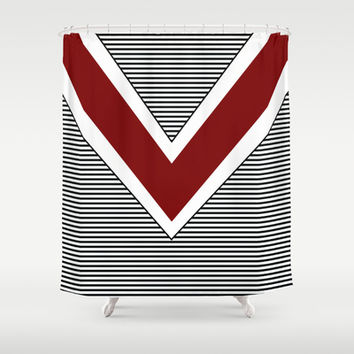 Black and White Stripes and Maroon Arrow Shower Curtain by Kat Mun