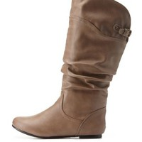Taupe Slouchy Flat Mid-Calf Boots by Charlotte Russe