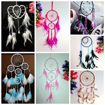 Various Colors Beautiful Dream Catcher with feather Car wall hanging Home Wedding decoration ornament  7 colors = 1705162692