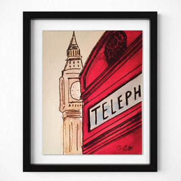 Contemporary Art Print of my watercolor Painting, Architecture print, Iconic British art, Drawing Pen and ink. Big Ben, Travel art, modern