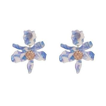 Qingzhi holiday wind Europe and America exaggerated flash diamond three-dimensional resin flower ear clips