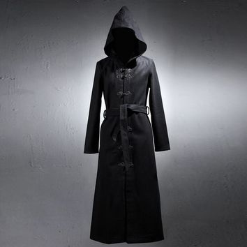 Men winter black long hooded woolen overcoat punk swag warm jacket men harajuku coats gothic cloak stage shows sobretudo for man