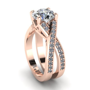 Diamond Engagement Ring Moissanite Wedding RIng 14K Rose Gold with 8mm Round Forever Brilliant Moissanite Center - V1106