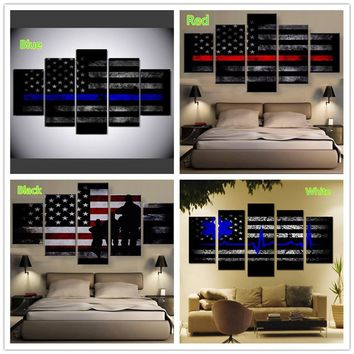 Unframed 5 Panels USA Thin Blue Line Flag Pentagram Modern Living Room Decorative Oil Painting Canvas Print Wall Art Picture Pos