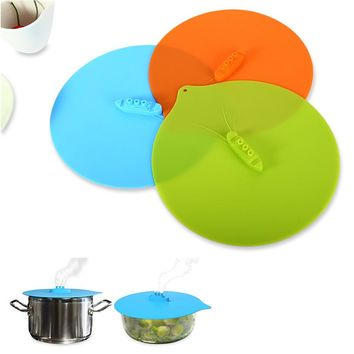 1pcs Universal Boat Silicone Suction Lid-bowl Pan Cooking Pot Lid-silicon Stretch Lids Cover Pan Spill lid Stopper Cover