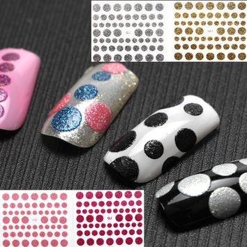 1 Sheet Polka Dot Glitter Shine Nail Art Stickers Decals 10 Colors 3D Sticker Create Mirror Powder Chrome Pigment