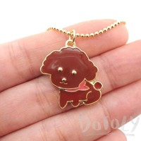 Brown Toy Poodle Puppy Dog Shaped Animal Pendant Necklace | DOTOLY