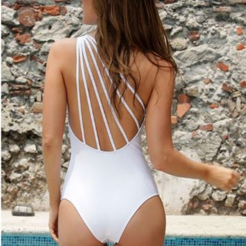 Siamese swimsuit sexy Multi Rope Halter Swimsuit = 9960151430