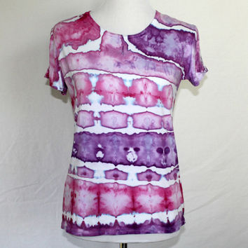 Womens Purple Tie Dye, Handdyed Shirt, Womens Tie Dye T-Shirt, Purple Striped Shirt, Womens Tye Dye Shirt