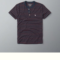 Striped Logo Short-Sleeve Henley