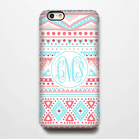 Teal Coral Monogram iPhone 6 Plus 6 5S 5 5C 4 Protective Case #935-B